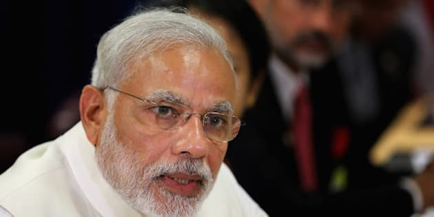 NEW YORK, NY - SEPTEMBER 28:  (AFP OUT) Indian Prime Minister Narendra Modi delivers remarks to the news media after holding a bilateral meeting with U.S. President Barack Obama and their respective foreign policy teams at the United Nations headquarters September 28, 2015 in New York City. Modi and Obama are in New York City to attend the 70th anniversary general assembly meetings.  (Photo by Chip Somodevilla/Getty Images)