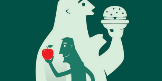 vector silhouette illustration of healthy eating...