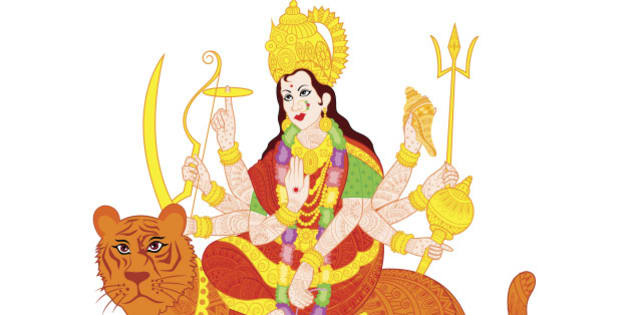 easy to edit vector illustration of Goddess Durga