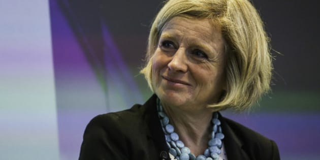 Rachel Notley, Alberta's premier, listens during an interview at the Canadian Fixed Income Conference in New York, U.S., on Wednesday, Sept. 30, 2015. Kinder Morgan Inc. may need to shift its Trans Mountain pipeline to a different port in British Columbia to win over opponents to the lines expansion, Notley said. Photographer: Chris Goodney/Bloomberg via Getty Images
