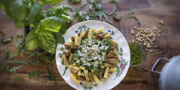 basil, pine nuts, rocket salad, macaroni, parmesan