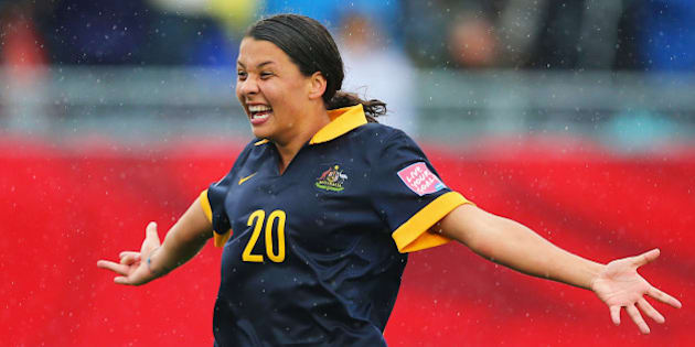 MONCTON, NB - JUNE 21:  Samantha Kerr of Australia celebrates victory after the FIFA Women's World Cup 2015 round of 16 match between Brazil and Australia at Moncton Stadium on June 21, 2015 in Moncton, Canada. Australia reach the quarter finals with a 1-0 win.  (Photo by Elsa/Getty Images)