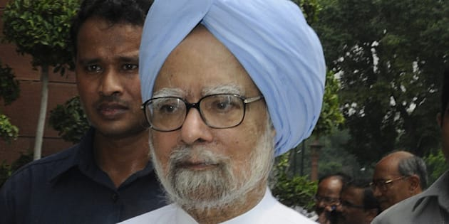 NEW DELHI, INDIA - AUGUST 5: Former Prime Minister Manmohan Singh after protest against Prime Minister Narendra Modi and the NDA government at Parliament House on August 5, 2015 in New Delhi, India. Congress and some opposition parties on Wednesday persisted with their protest against the suspension of 25 MPs as the stalemate in the Rajya Sabha continued over the opposition demand for the resignations of three BJP leaders. (Photo by Sonu Mehta/Hindustan Times via Getty Images)