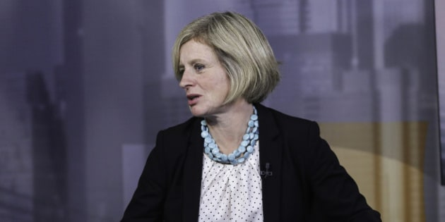 Rachel Notley, Alberta's premier, right, speaks during a Bloomberg Television interview in New York, U.S., on Wednesday, Sept. 30, 2015. Kinder Morgan Inc. may need to shift its Trans Mountain pipeline to a different port in British Columbia to win over opponents to the lines expansion, Notley said. Photographer: Chris Goodney/Bloomberg via Getty Images