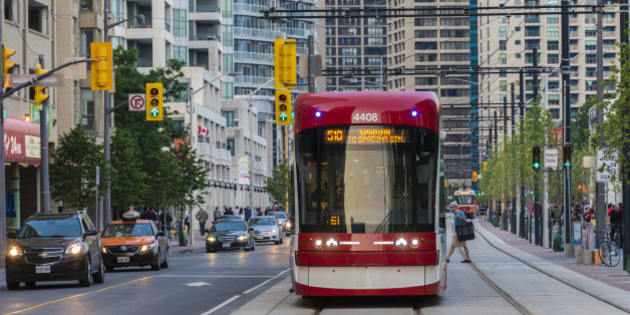 TORONTO, ONTARIO, CANADA - 2015/07/01: New Toronto street cars Flexity Outlook in evening street. City transportation streetcar. (Photo by Roberto Machado Noa/LightRocket via Getty Images)