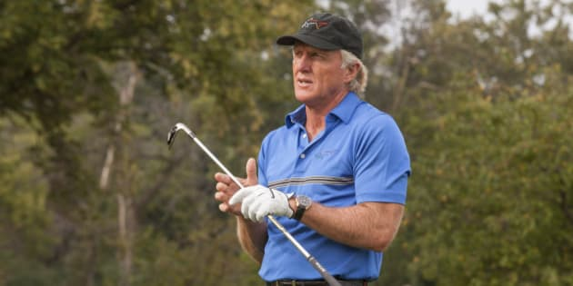 Golf Legend and OMEGA Ambassador Greg Norman hosts an exclusive golf clinic for VIP guests on Tuesday, September 9, 2014 at Oak Park Country Club in River Grove, IL. (Photo by Barry Brecheisen/Invision for OMEGA Watches/AP Images)