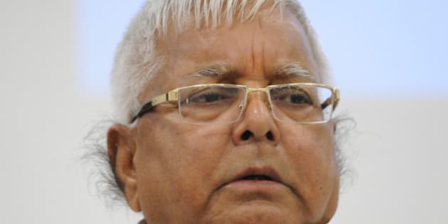 PATNA, INDIA - AUGUST 12: RJD Chief Lalu Yadav at a joint press conference to announce Maha Gathbandhan on August 12, 2015 in Patna, India. The RJD and JD-U announced that they will contest 100 seats each in the Bihar assembly election, leaving 40 seats to the Congress and three to the NCP. (Photo by AP Dube/Hindustan Times via Getty Images)