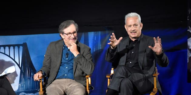 NEW YORK, NY - OCTOBER 08:  (Exclusive Coverage) BRIDGE OF SPIES: THE EXCHANGE - a satellite Q&A conversation with Steven Spielberg & Tom Hanks moderated by Jess Cagle on October 8, 2015 in New York City.  (Photo by Kevin Mazur/Getty Images for Walt Disney Studios)
