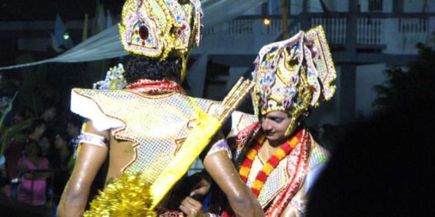 Ram helps Lakshmana with his costume; the tenth night of Ramleela, Felicity, Trinidad, 12 October, 2008