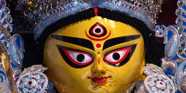 Close up view of Goddess Durga Idol at Bagbazar, North Kolkata