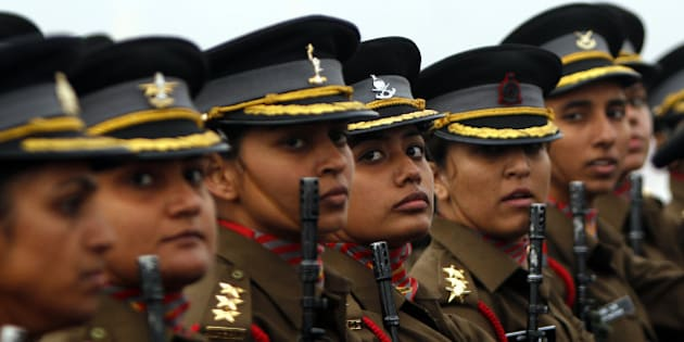 NEW DELHI, INDIA - JANUARY 15: Women officer contingent of the Indian Army march during the Army Day parade at Delhi Cantt on January 15, 2015 in New Delhi, India. It was first time a woman officer contingent was part of the parade. Every year Indian Army celebrates 15th January as Army Day to commemorate the day when General (later Field Marshal) KM Carriappa took over the command of Army from General Sir FRR Bucher, the last British Commander-in-Chief in 1949 and became the first Commander-in-Chief of Indian Army post-Independence. (Photo by Arun Sharma/Hindustan Times via Getty Images)