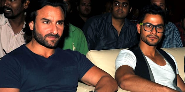 Indian Bollywood actors Saif Ali Khan (L) and Kunal Khemu (R) pose for a photo during the upcoming Hindi 'GO GOA GONE' music launch in Mumbai on April 18, 2013. AFP PHOTO/STR        (Photo credit should read STRDEL/AFP/Getty Images)