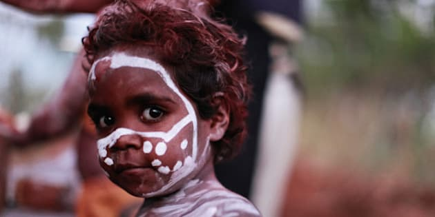 Young Aboriginal girl during a ceremony.
