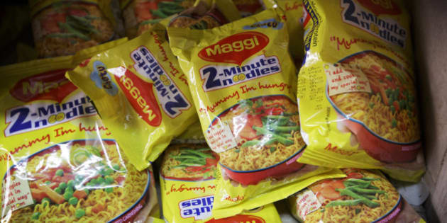 Packets of Maggi 2-Minute Noodles, manufactured by Nestle India Ltd., sit behind the counter at a store in New Delhi, India, on Monday, June 15, 2015. Nestle SA said the U.S. Food and Drug Administration is testing samples of imported Maggi noodles after the worlds largest food company halted sales in India when regulators said they contained unhealthy levels of lead. Photographer: Kuni Takahashi/Bloomberg via Getty Images