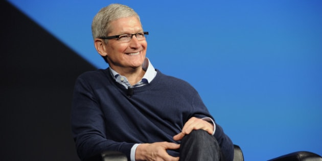 Tim Cook, chief executive officer of Apple Inc., smiles during the BoxWorks 2015 Conference at the Moscone Center in San Francisco, California, U.S., on Tuesday, Sept. 29, 2015. Wider consumer use of cloud storage may drive enterprises to be more flexible about being open to cloud-storage companies such as Box and Dropbox. Photographer: Michael Short/Bloomberg via Getty Images