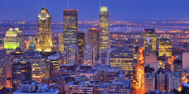 High angle view of downtown Montreal from Mount Royal at blue hour