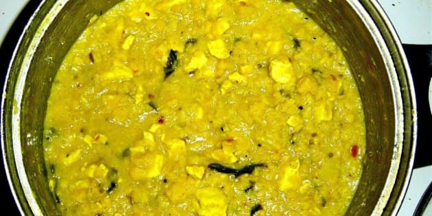 Moong & Tur Dal with tofu, coriander, turmeric, mustard and cumin seeds.