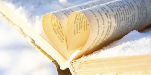 books on winter background. under snow