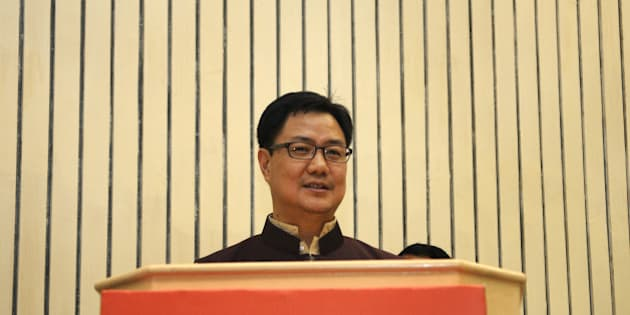 NEW DELHI, INDIA - SEPTEMBER 28: Kiren Rijiju, Minister of State for Home Affairs, addresses the National Disaster Management Authority's (NDMA) 11th Formation Day at Vigyan Bhawan on September 28, 2015 in New Delhi, India. (Photo by Sonu Mehta/Hindustan Times via Getty Images)