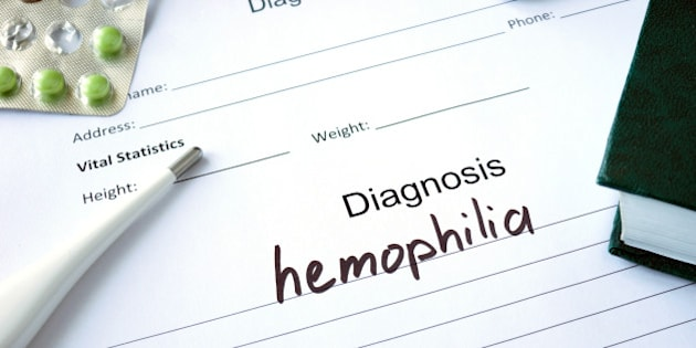 Diagnostic form with Diagnosis hemophilia and pills.