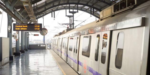 Delhi Metro station  in Delhi. Delhi Metro network consists of six lines with a total length of 189.63 kilometres (117.83 mi) with 142 stations