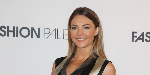 SYDNEY, AUSTRALIA - MARCH 10:  Sam Frost poses at the ART of Fashion designer catwalk showcase at the Art Gallery Of NSW on March 10, 2015 in Sydney, Australia.  (Photo by Don Arnold/WireImage)