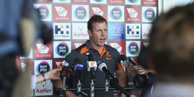 SYDNEY, AUSTRALIA - OCTOBER 21:  Steve Johnson of the Giants speaks to the media during a Greater Western Sydney Giants AFL media opportunity at Tom Wills Oval on October 21, 2015 in Sydney, Australia.  (Photo by Ryan Pierse/Getty Images)