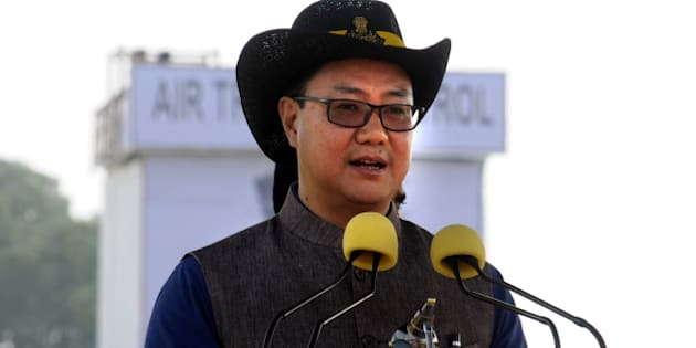 GURGAON, INDIA - OCTOBER 16: Minister of State for Home Affairs Kiren Rijiju addressing the people in 31st NSG Raising Day function in Manesar campus, on October 16, 2015 in Gurgaon, India. The National Security Guard (NSG), popularly known as 'The Black Cats, was raised in 1984 for combating terrorist activities with a view to protect states against internal disturbances. It also handles VIP security. (Photo by Parveen Kumar/Hindustan Times via Getty Images)
