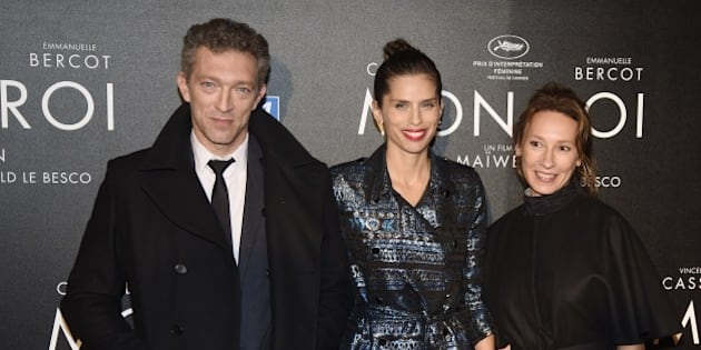 French director Maiwenn (C) poses with French actors Vincent Cassel (L) and Emmanuelle Bercot before the premiere of her film 'Mon Roi' in Paris on October 12, 2015. AFP PHOTO / DOMINIQUE FAGET        (Photo credit should read DOMINIQUE FAGET/AFP/Getty Images)