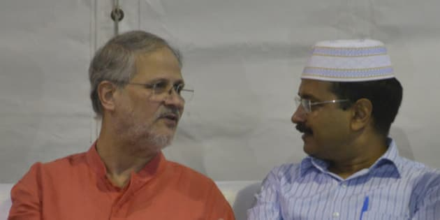 NEW DELHI, INDIA  JULY 12: Arvind Kejriwal with Lieutenant Governor Najeeb Jung during an Iftar party hosted by him at New Delhi on Sunday evening.(Photo by Pankaj Nangia/India Today Group/Getty Images)