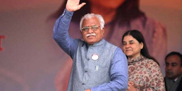 PANIPAT, INDIA - JANUARY 22: Haryana Chief Minister Manohar Lal Khattar waves to the crowd at launch of Beti Bachao Beti Padhao programme on January 22, 2015 in Panipat, India. The Beti Bachao Beti Padhao campaign, which means Save the girl child, educate the girl child, aims to address the issue of declining Child Sex Ratio (CSR) through a mass campaign across the country targeted at changing societal mindsets and creating awareness about the criticality of the issue. (Photo by Ravi Kumar/Hindustan Times via Getty Images)