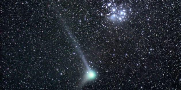 Comet Machholz close to the open cluster M45 - Plejades. 2,8/50mm Nikkor, SXV H9, L 2x180sec (1x1), RGB 90sec (2x2)