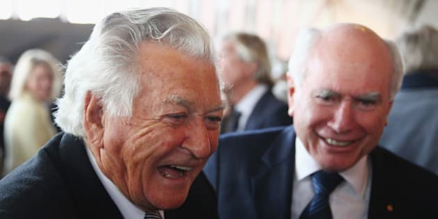 SYDNEY, AUSTRALIA - JUNE 25:  Bob Hawke  talks with John Howard as they attend a state memorial service for the late Hazel Hawke, ex-wife of former Australian Prime Minister, Bob Hawke at the Sydney Opera House on June 25, 2013 in Sydney, Australia.  (Photo by Don Arnold/WireImage)