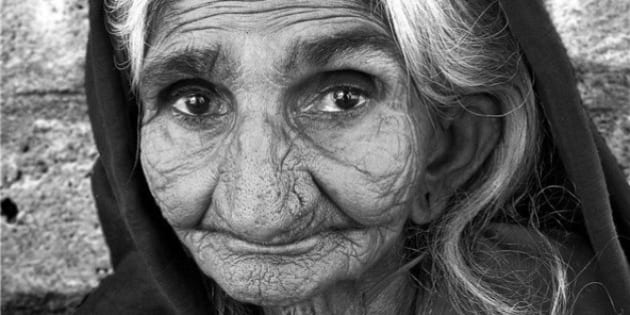 """Elderly Rabari woman at Nadapa village, east of Kucth. Black white close up from <a href=""""http://www.flickr.com/photos/meanestindian/390051982/in/set-72157594536998006/"""">earlier scene</a>"""