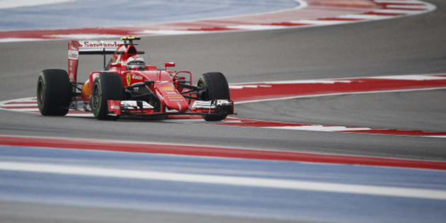Ferrari driver Kimi Raikkonen, of Finland, steers his car during first practice session for the Formula One U.S. Grand Prix auto race at the Circuit of the Americas, Friday, Oct. 23, 2015, in Austin, Texas. (AP Photo/John Locher)