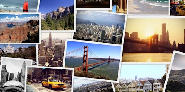 Travel collage of images from USA - new york, boston,chicago,los angeles, miami,new orleans,las vegas