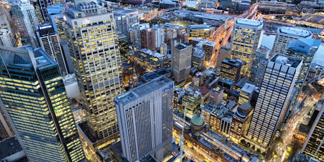 View of Sydney Business District at dusk, Sydney, New South Wales, Australia.