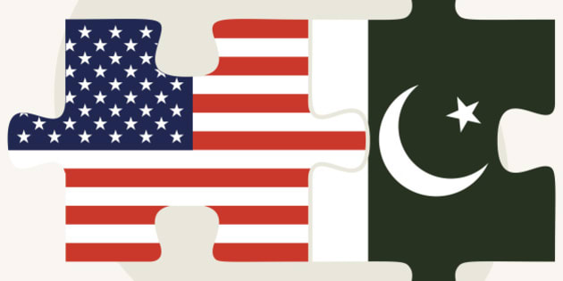 Vector Image - USA and Pakistan Flags in puzzle isolated on white background