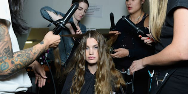 MILAN, ITALY - SEPTEMBER 27:  A model is seen backstage ahead of the Trussardi show during Milan Fashion Week Spring/Summer 2016  on September 27, 2015 in Milan, Italy.  (Photo by Selin Alemdar/Getty Images)
