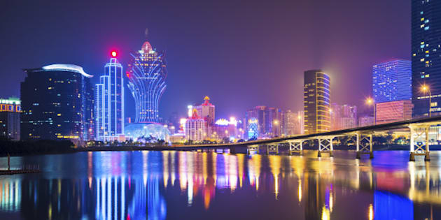 Skyline of Macau, China from across Nam Van Lake.