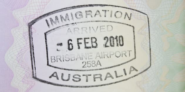 A close up of a passport stamp for immigration to Australia