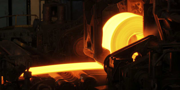 Hot orange steel rolling process in a steel manufacturing industry. Hot rolling is a metalworking process used mainly to produce sheet metal or simple cross sections, such as rail tracks. Other typical uses for hot rolled metal includes truck frames, automotive wheels, pipe and tubular, water heaters, agriculture equipment,  compressor shells, rail car components, wheel rims, metal buildings, railroad-hopper cars, doors, shelving, discs, guard rails, automotive clutch plates.