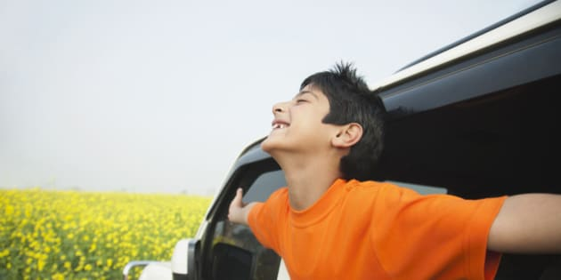 Boy (6-7 years) leaning out of car