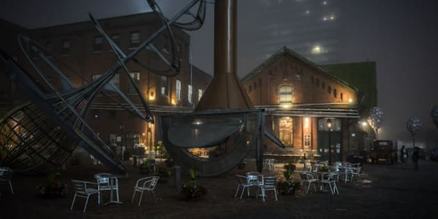 At the Distillery District in Toronto, Ontario on a foggy eening