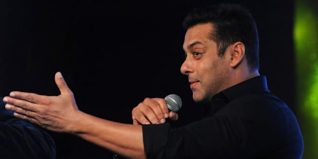 Indian Bollywood actor Salman Khan speaks onstage during a promotional event in Mumbai on late October 2, 2015. AFP PHOTO / STR        (Photo credit should read STRDEL/AFP/Getty Images)