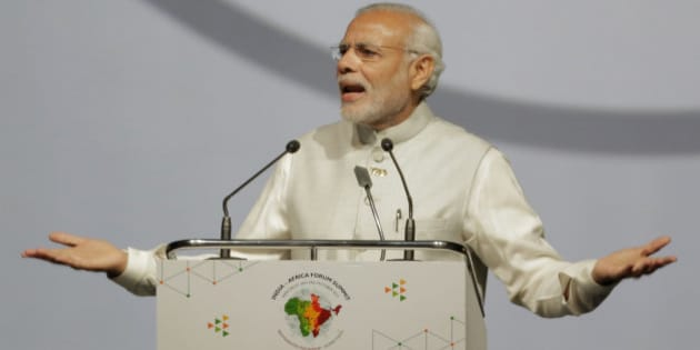 Indian Prime Minister Narendra Modi makes the opening speech during the India Africa Forum Summit at the Indira Gandhi sports complex in New Delhi, India, Thursday, Oct. 29, 2015. More than 40 African leaders are in New Delhi to attend the IAFS 2015, preceded by meetings of trade and foreign ministers from nearly all 54 African nations, to explore how Indian investment and technology can help a resurgent Africa face its development challenges. (AP Photo/Bernat Armangue)