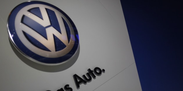 The Volkswagon emblem at the Chicago Auto Show Wednesday, Feb. 9, 2011 in Chicago. (AP Photo/Charles Rex Arbogast)