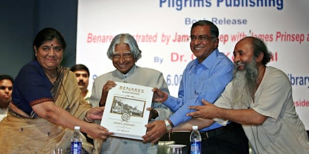 NEW DELHI, INDIA � SEPTEMBER 08: (From left) Mridula Mukherjee, director Nehru Memorial Museum and Library, former president of India, Dr APJ Kalam, author OP Kejriwal and publisher Ramanand Tiwari at the launch of the book, Benaras Illustrated by James Prinsep, at Nehru Memorial Museum and Library in New Delhi, on Tuesday, September 8, 2009. (Photo by Ramesh Sharma/India Today Group/Getty Images)