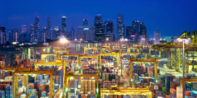 Singapore, shipping terminal, city skyline in background, elevated view