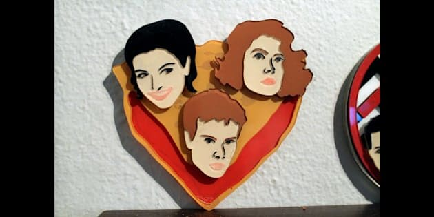 """Love Triangle"" brooch by Cheryl Levine (<a href=""http://cheryllevine.com"" rel=""nofollow"">cheryllevine.com</a>). Acrylic and Magnets. $150.